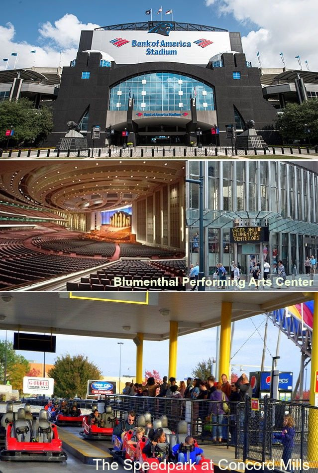 The Speedpark at Concord Mills, Blumenthal Performing Arts Center, Bank of America Stadium, home for sale